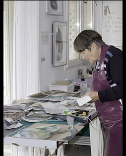 Prue Bishop in her Studio